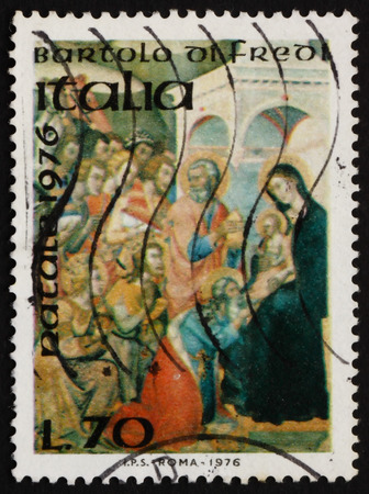 adoration: ITALY - CIRCA 1976: a stamp printed in Italy shows Adoration of the Kings, Painting by Bartolo di Fredi, Italian Painter, Christmas, circa 1976 Editorial