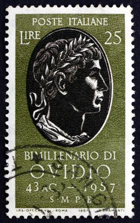 naso: ITALY - CIRCA 1957: a stamp printed in Italy shows Ovid, 2000th Anniversary of the Birth of the Roman Poet Publius Ovidius Naso, circa 1957