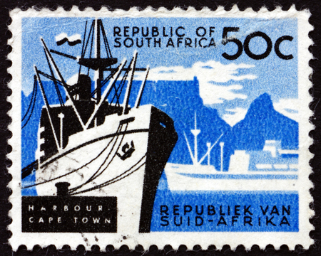 cape town: SOUTH AFRICA - CIRCA 1961: a stamp printed in South Africa shows Cape Town, Harbor, circa 1961