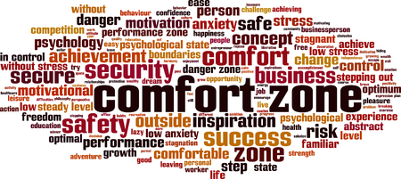 Comfort zone word cloud concept. Vector illustration