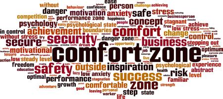comfort: Comfort zone word cloud concept. Vector illustration