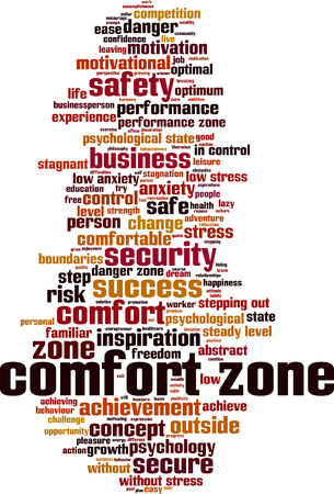 Comfort zone word cloud concept. Vector illustration