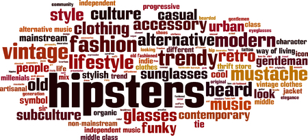 mainstream: Hipsters word cloud concept. Vector illustration