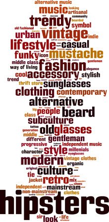 thrift: Hipsters word cloud concept. Vector illustration