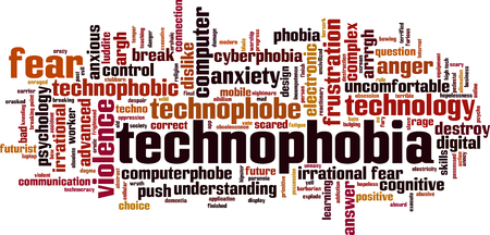 uneasy: Technophobia word cloud concept. Vector illustration