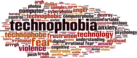 uncomfortable: Technophobia word cloud concept. Vector illustration