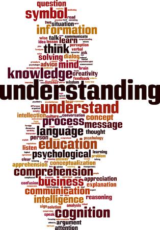 cognicion: La comprensi�n de palabras concepto de nube. ilustraci�n vectorial