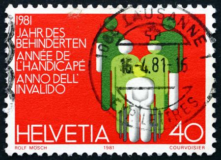 incapacitated: SWITZERLAND - CIRCA 1981: a stamp printed in Switzerland dedicated to International Year of Disabled, circa 1981 Editorial