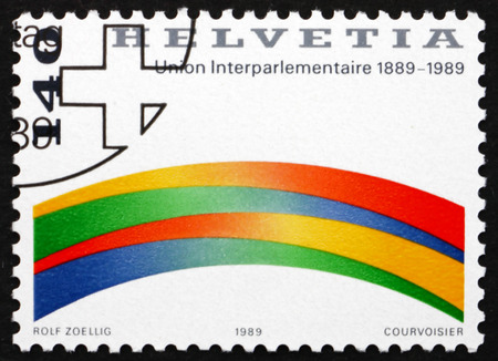 centenary: SWITZERLAND - CIRCA 1989: a stamp printed in Switzerland dedicated to Centenary of the Interparliamentary Union, circa 1989 Editorial