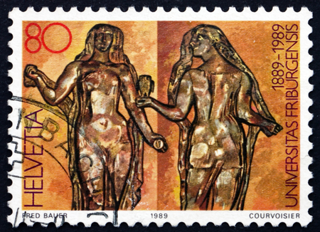 allegory: SWITZERLAND - CIRCA 1989: a stamp printed in Switzerland shows Allegory of Wisdom and Science, Centenary of the Fribourg University, circa 1989