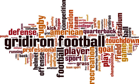 scrimmage: Gridiron football word cloud concept. Vector illustration