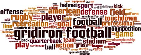 Gridiron voetbal word cloud concept. vector illustratie Stock Illustratie