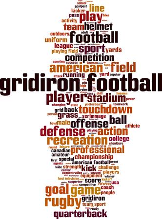 gridiron: Gridiron football word cloud concept. Vector illustration