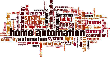 temperature controller: Home automation word cloud concept. Vector illustration Illustration