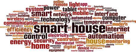 automatically: Smart house word cloud concept. Vector illustration