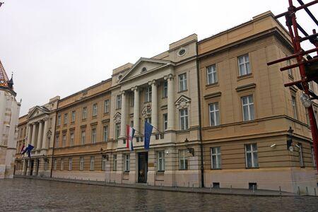 croatian: Croatian Parliament with Flags of European Union and Croatia Editorial