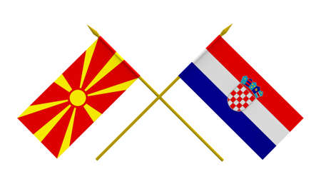 duel: Flags of Croatia and Macedonia, 3d render, isolated Stock Photo