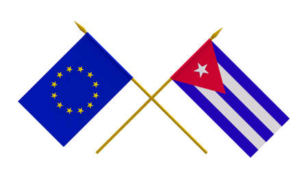 duel: Flags of Cuba and European Union, 3d render, isolated on white