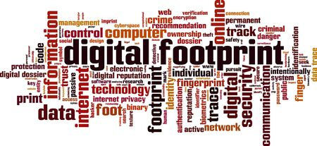 ownership and control: Digital footprint word cloud concept. illustration Illustration
