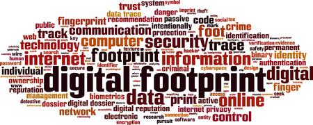 word cloud concept illustration: Digital footprint word cloud concept. illustration Illustration