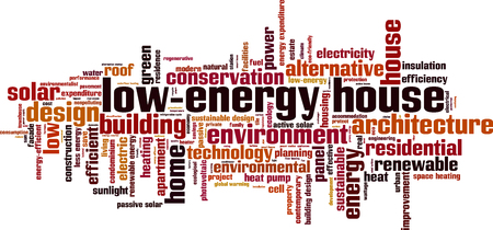 heat pump: Low-energy house word cloud concept. Vector illustration