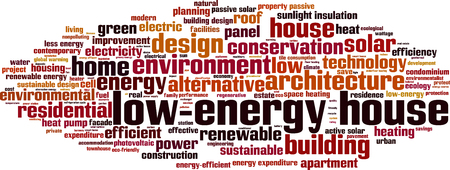 heat pump: Low-energy house word cloud concept. illustration Illustration