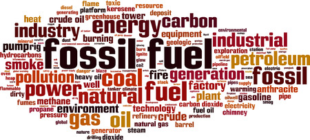word cloud: Fossil fuel word cloud concept. illustration Illustration