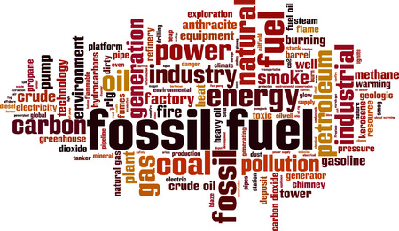 hydrocarbons: Fossil fuel word cloud concept. illustration Illustration