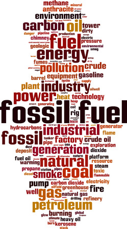 powerhouse: Fossil fuel word cloud concept. illustration Illustration