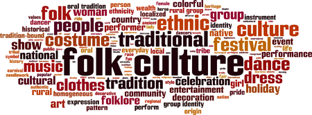 Folk culture word cloud concept. illustration Illustration