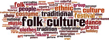 identidad cultural: cultura popular concepto de nube de palabras. ilustración