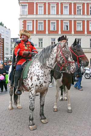 ceremonial clothing: CROATIA ZAGREB, 4 OCTOBER 2014: Members of the Kravat Regiment on the square of Ban Jelacic Editorial