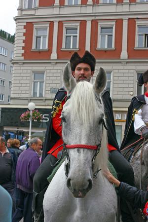 regiment: CROATIA ZAGREB, 4 OCTOBER 2014: Member of the Kravat Regiment on the square of Ban Jelacic
