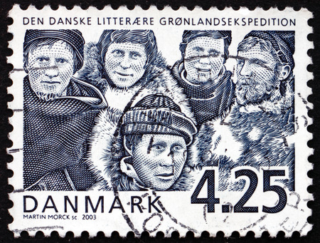 centenary: DENMARK - CIRCA 2003: a stamp printed in Denmark shows Danish Literary Greenland Expedition, Centenary, circa 2003 Editorial