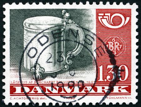 tankard: DENMARK - CIRCA 1980: a stamp printed in Denmark shows Silver Tankard, by Borchardt Rollufse, 1641, circa 1980