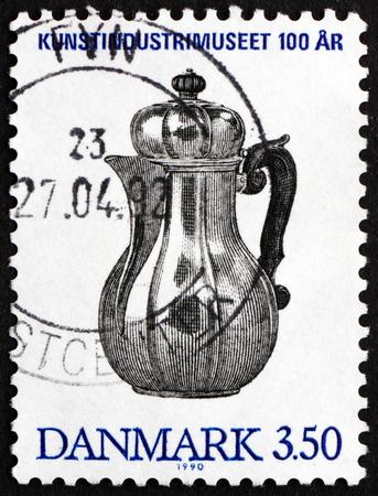johannes: DENMARK - CIRCA 1990: a stamp printed in Denmark shows Silver Coffee Pot Designed by Axel Johannes Kroyer, Copenhagen, 1726, circa 1990
