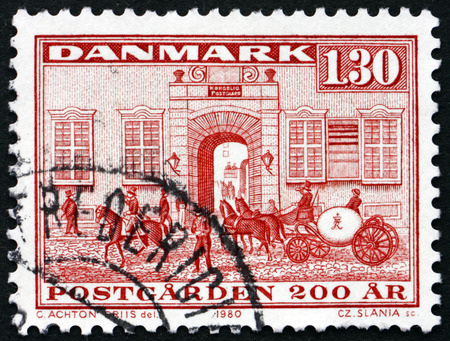 royal mail: DENMARK - CIRCA 1980: a stamp printed in Denmark shows Royal Mail Guards� Office, Copenhagen, 1779, 200th Anniversary of the National Postal Service, circa 1994