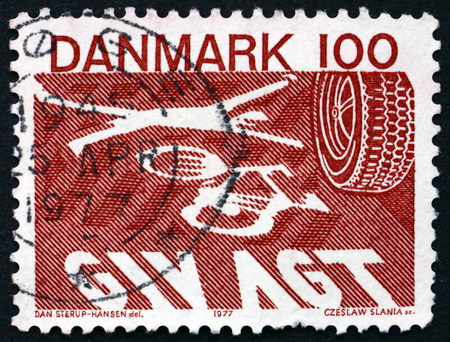 road accident: DENMARK - CIRCA 1977: a stamp printed in Denmark shows Road Accident, Road Safety Traffic Act, May 1, 1977, circa 1977 Editorial