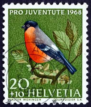 passerine: SWITZERLAND - CIRCA 1968: a stamp printed in the Switzerland shows Bullfinch, Pyrrhula Pyrrhula, Small Passerine Bird, circa 1968 Editorial