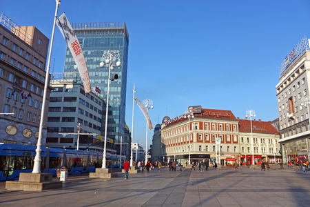 viceroy: CROATIA ZAGREB, 20 FEBRUARY 2015: View of Ban Jelacic square, the central square of the city of Zagreb, Croatia
