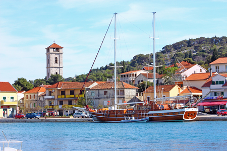 the mainland: CROATIA TISNO, 9 APRIL 2012: Tisno is a town, located partly on mainland and partly on island of Murter, Croatia Editorial