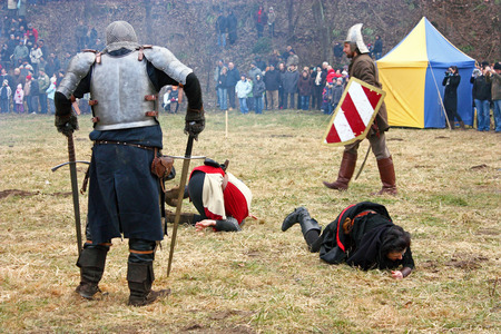 staging: CROATIA SAMOBOR, 7 MARCH 2010: Staging of a medieval battle at Samobor on March 1, 1441, Croatia