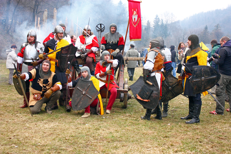 staging: CROATIA SAMOBOR, 7 MARCH 2010: Soldiers after the battle, staging of a medieval battle at Samobor on March 1, 1441, in Samobor, Croatia