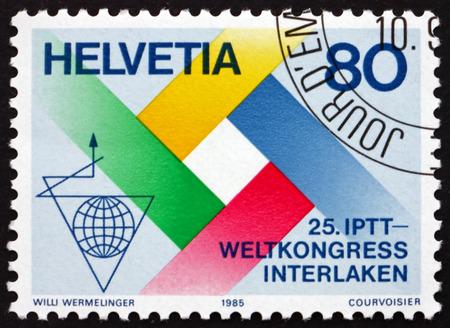 helvetia: SWITZERLAND - CIRCA 1985: a stamp printed in the Switzerland dedicated to Postal, Telegraph and Telephone International Congress, Interlaken, circa 1985