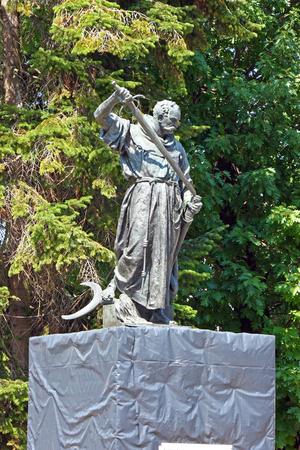 uprising: Statue of friar Luka Ibrisimovic, who led an uprising against Ottoman forces in Slavonia, Croatia Stock Photo