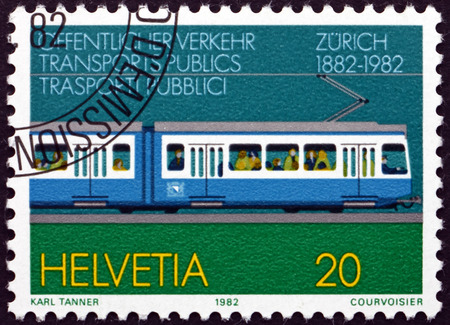 centenary: SWITZERLAND - CIRCA 1982: a stamp printed in the Switzerland dedicated to Zurich Tram Centenary, circa 1982