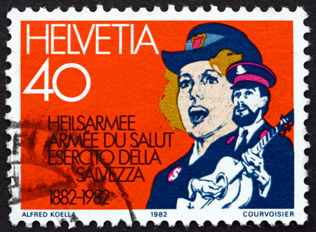 centenary: SWITZERLAND - CIRCA 1982: a stamp printed in the Switzerland dedicated to Salvation Army in Switzerland, Centenary, circa 1982