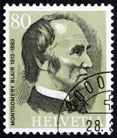 founder: SWITZERLAND - CIRCA 1974: a stamp printed in the Switzerland shows Montgomery Blair, the Founder of the UPU, circa 1974