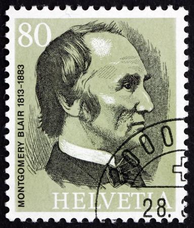 upu: SWITZERLAND - CIRCA 1974: a stamp printed in the Switzerland shows Montgomery Blair, the Founder of the UPU, circa 1974