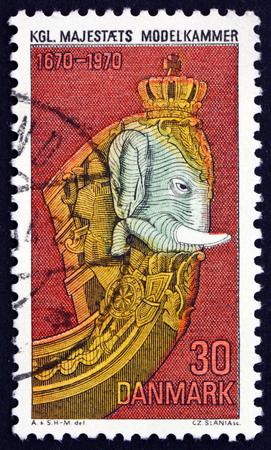 DENMARK - CIRCA 1970: a stamp printed in Denmark shows Elephant Figurehead, Royal Naval Museum, Tercentenary, circa 1970
